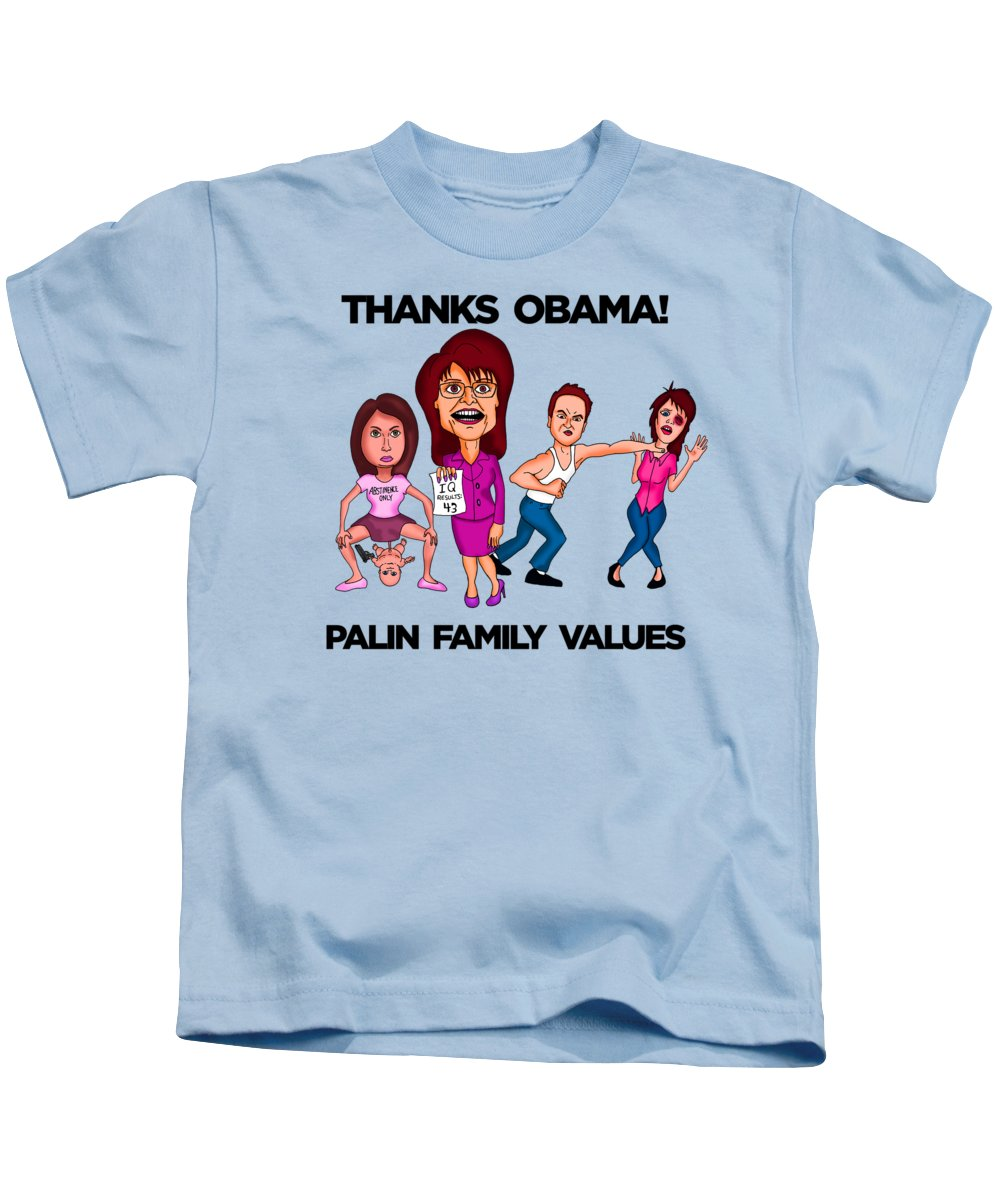 Sarah Palin Kids T-Shirt featuring the painting Palin Family Values by Sean Corcoran