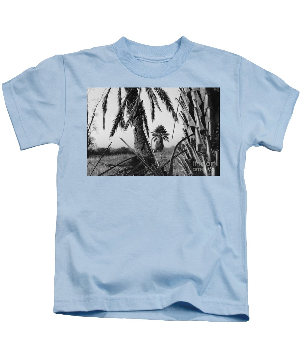 Black And White Photograpy Kids T-Shirt featuring the photograph Palm In View Bw Horizontal by Heather Kirk