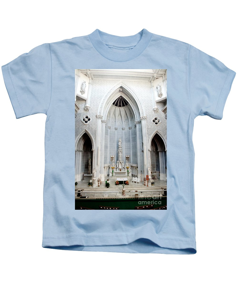 St.john Kids T-Shirt featuring the photograph Panorama Of The Main Altar Of St. John The Evangalist Roman Catholic Church Schenectady by Thomas Marchessault