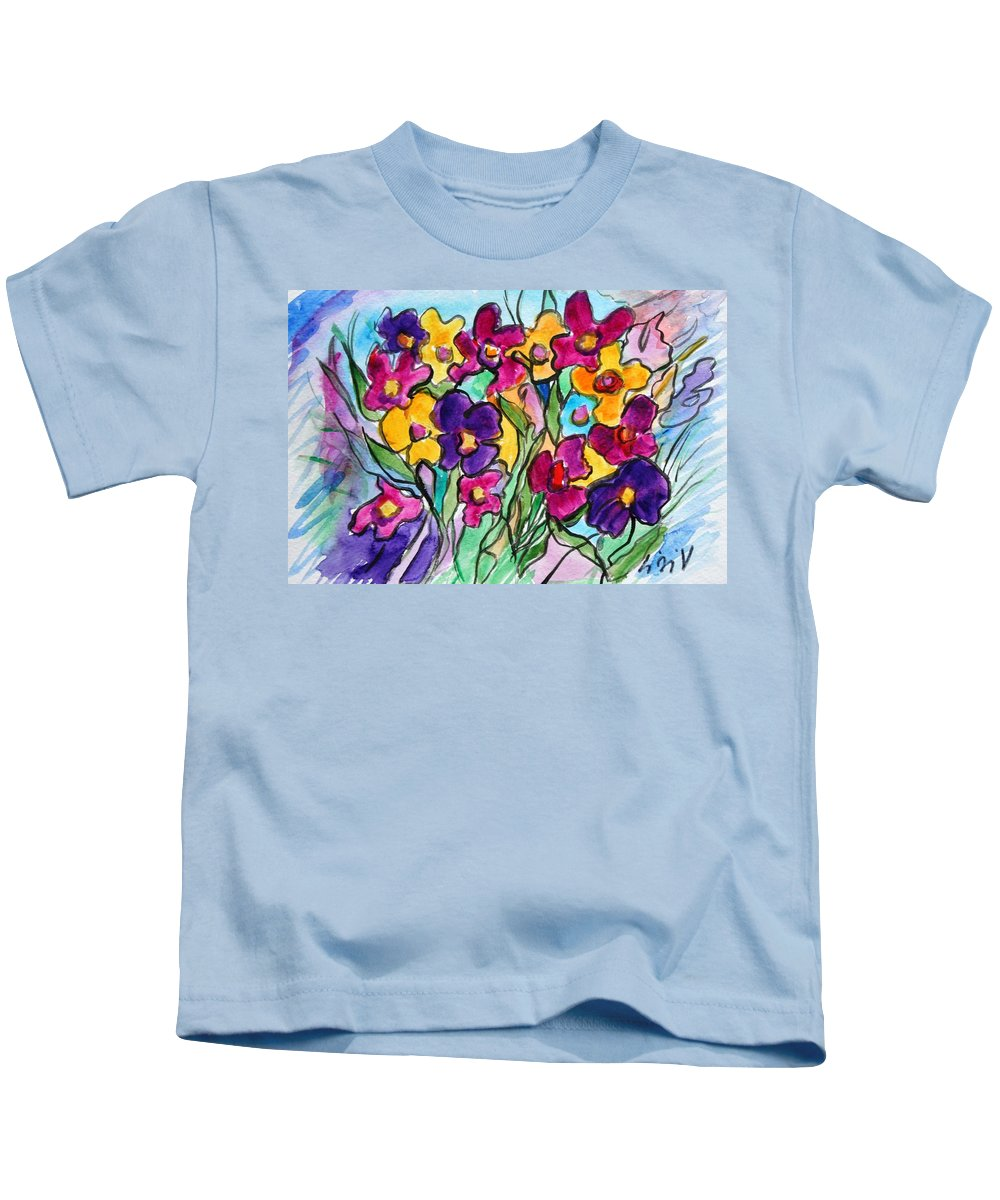 Flowers Kids T-Shirt featuring the painting Pansies by Luiza Vizoli