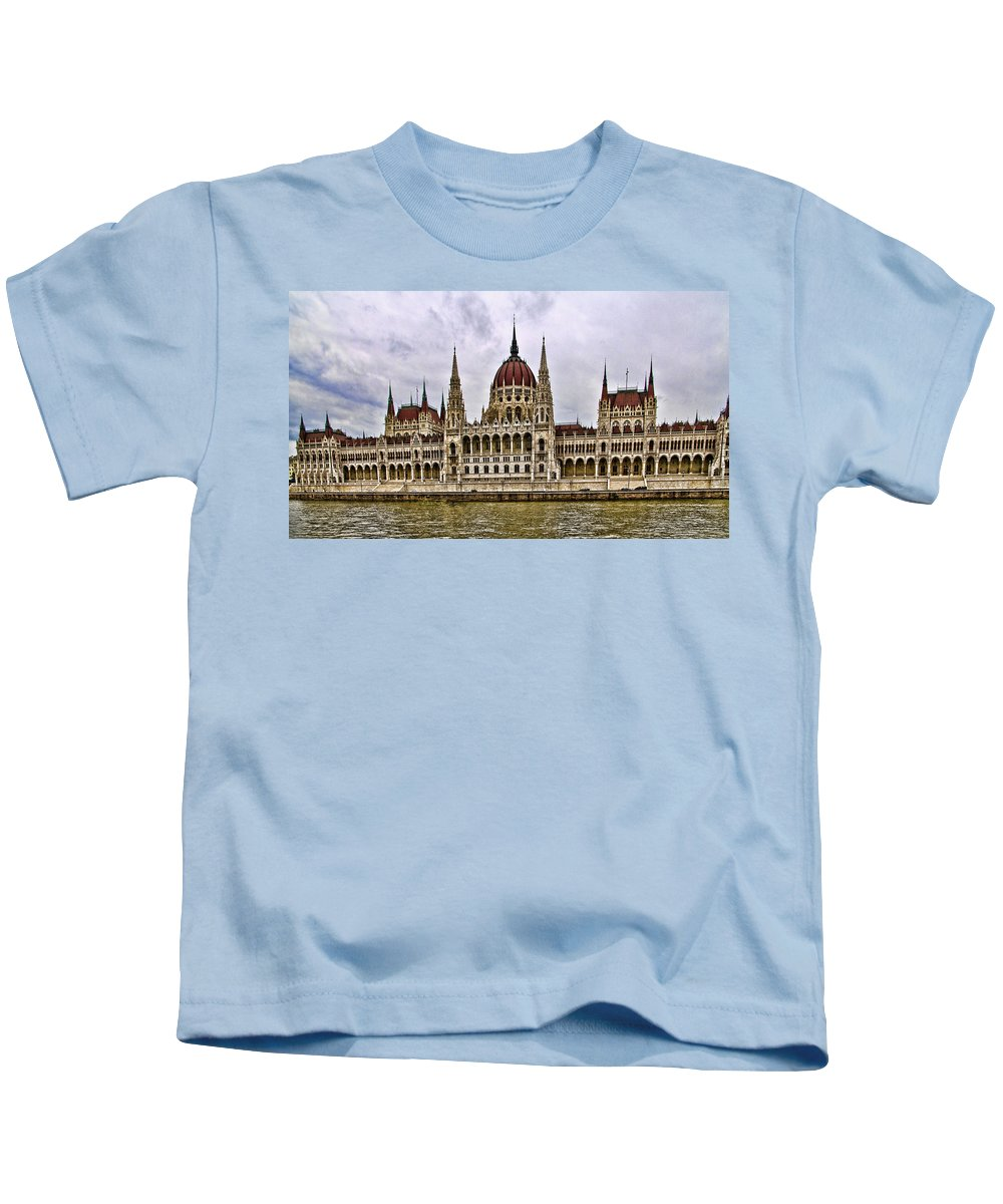 Parliment Building Kids T-Shirt featuring the photograph Parliment - Budapest by Jon Berghoff