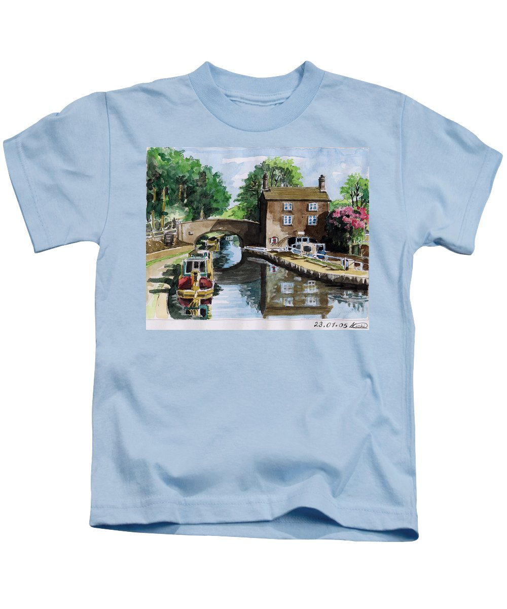 House Kids T-Shirt featuring the painting Peacfull House On The Lake by Alban Dizdari