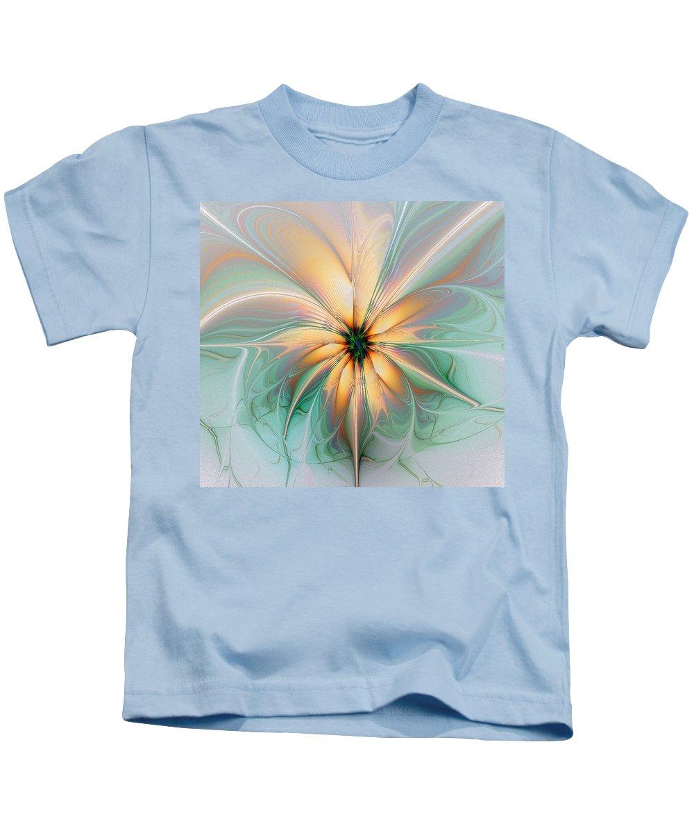 Digital Art Kids T-Shirt featuring the digital art Peach Allure by Amanda Moore