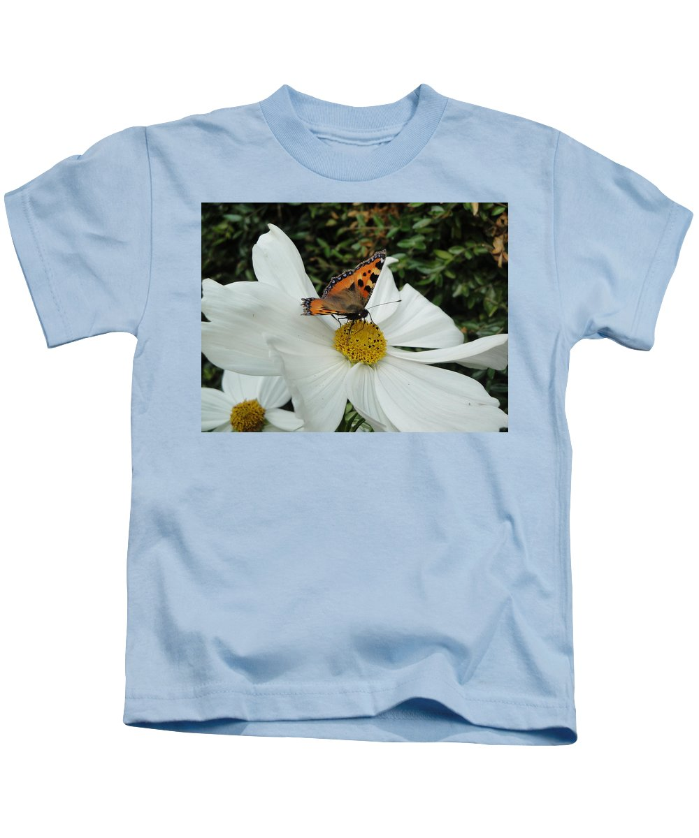 Butterfly Kids T-Shirt featuring the photograph Peacock Butterfly On Cosmos by Susan Baker