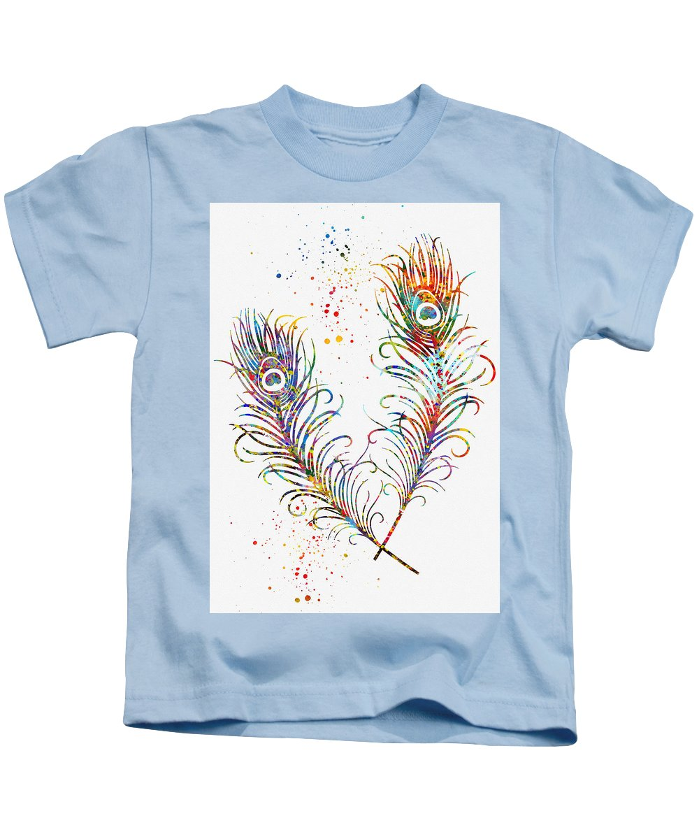 Peacock Feathers Kids T-Shirt featuring the digital art Peacock Feathers-colorful by Erzebet S