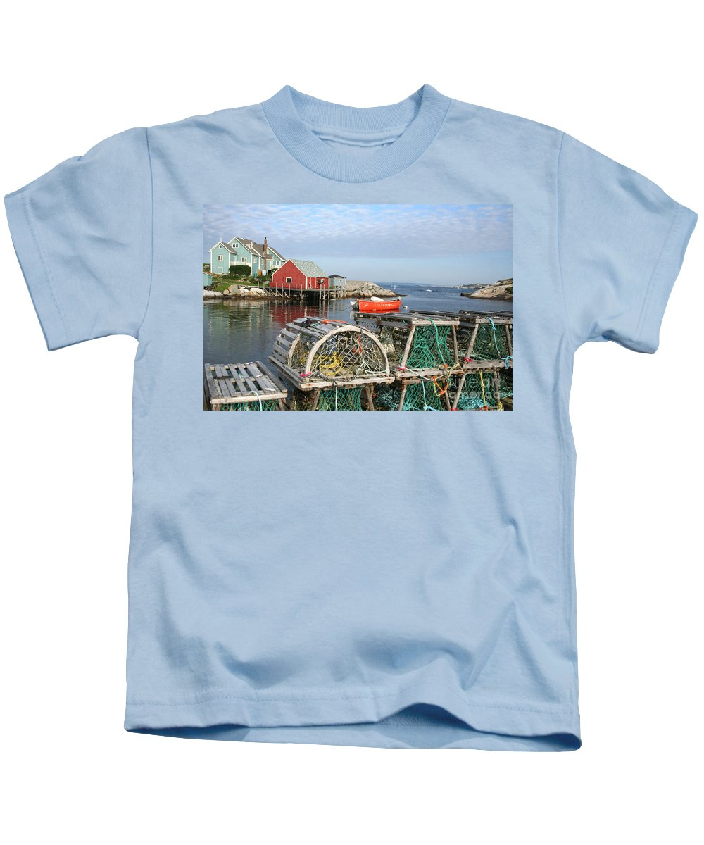 Peggy\\ Kids T-Shirt featuring the photograph Peggys Cove And Lobster Traps by Thomas Marchessault