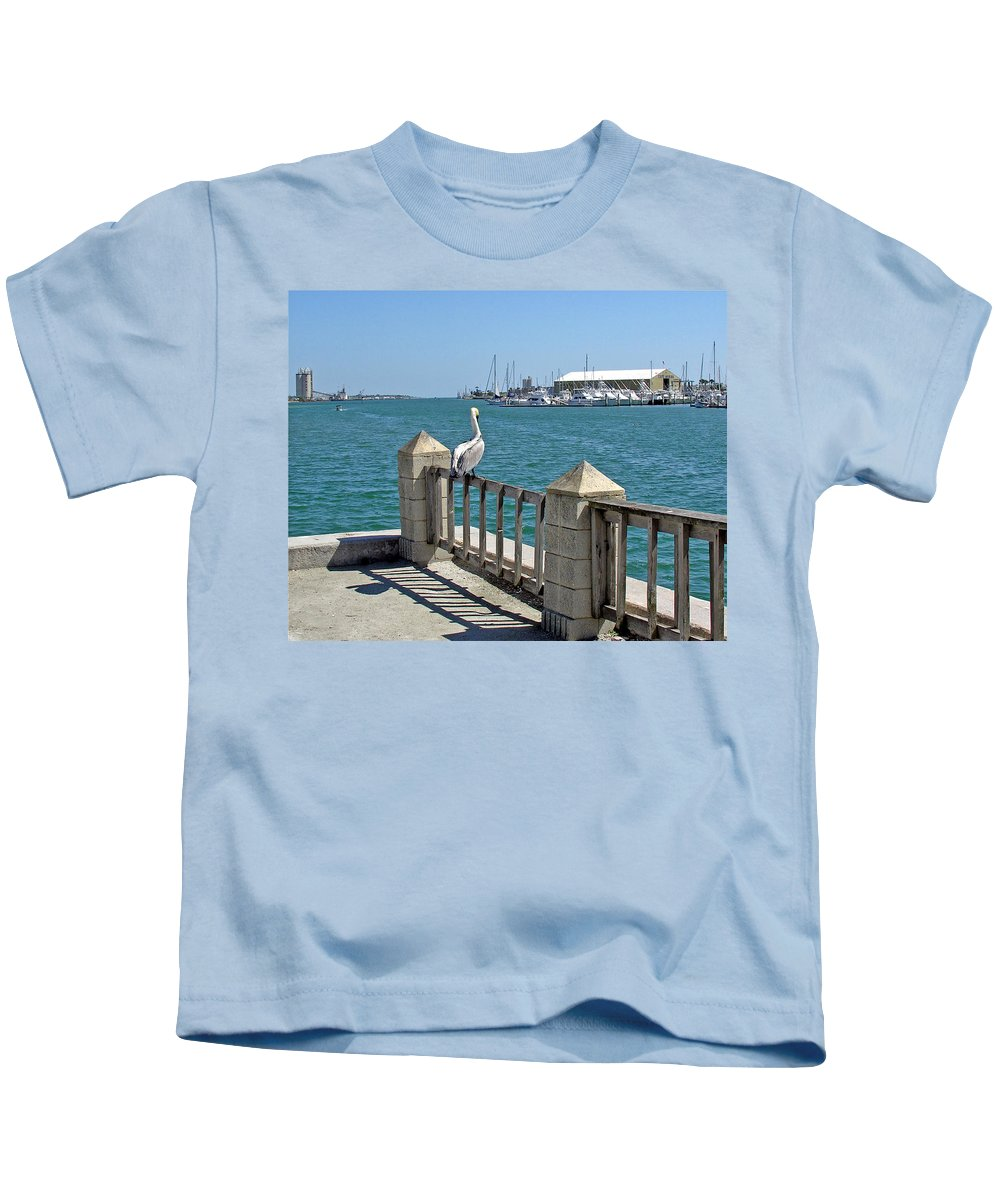 Port; Canaveral; Pelican; Gaze; Florida; Wildlife; Florida; Harbor; Atlantic; Ocean; Sea; Bird; Wate Kids T-Shirt featuring the photograph Pelican Gazing At Port Canaveral In Florida by Allan Hughes