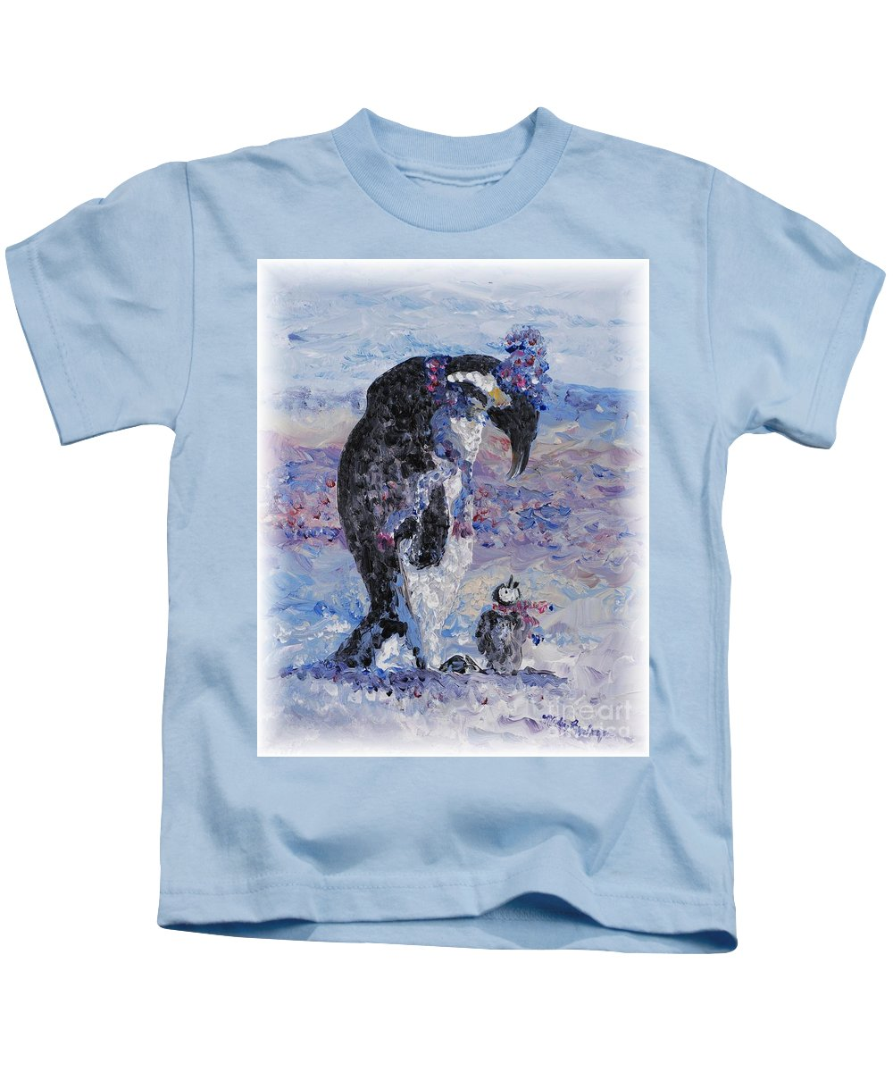 Penguins Winter Snow Blue Purple White Kids T-Shirt featuring the painting Penguin Love by Nadine Rippelmeyer