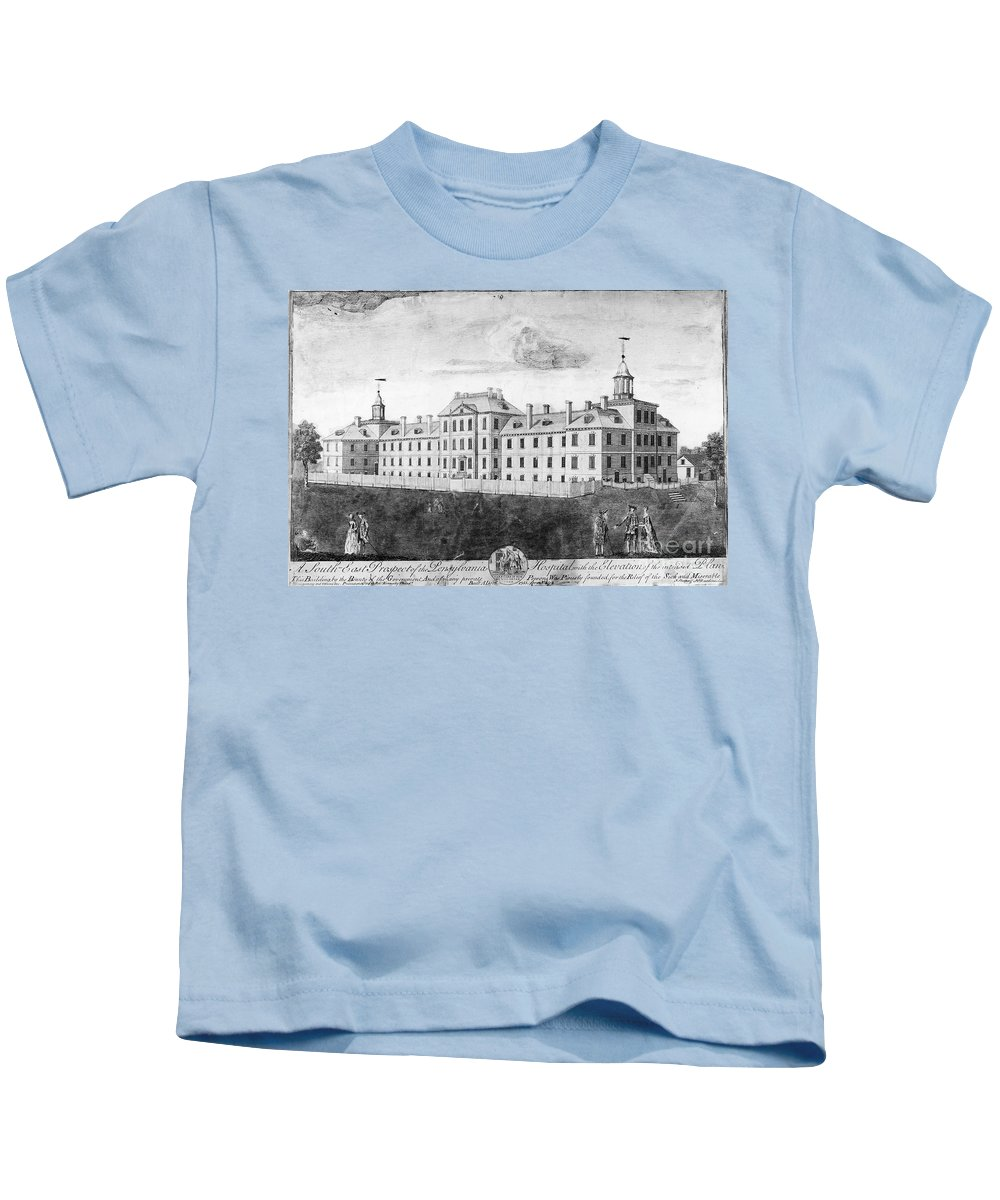 1755 Kids T-Shirt featuring the photograph Pennsylvania Hospital, 1755 by Granger