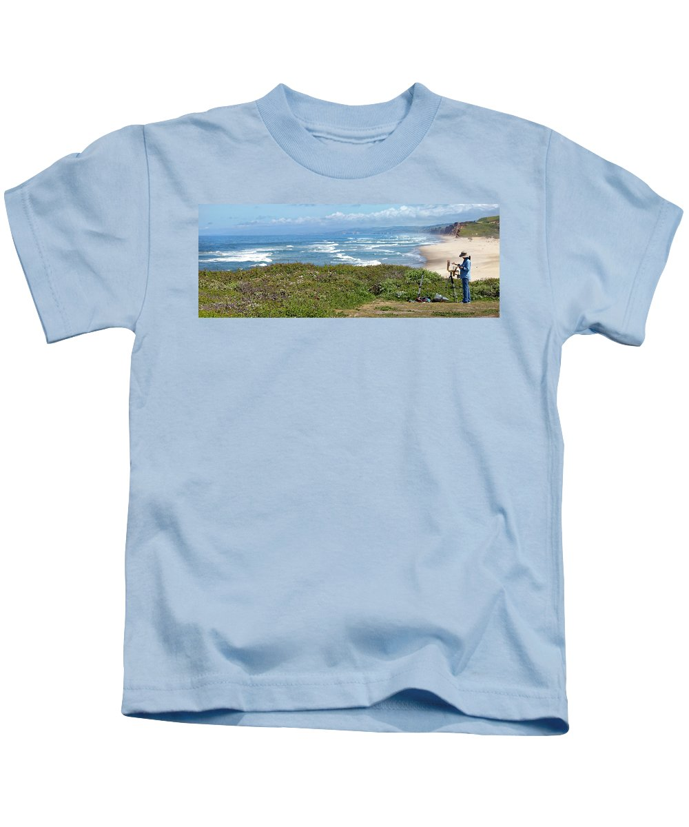 Pescadero Kids T-Shirt featuring the photograph Pescadero Painter Panorama by Noel Baebler