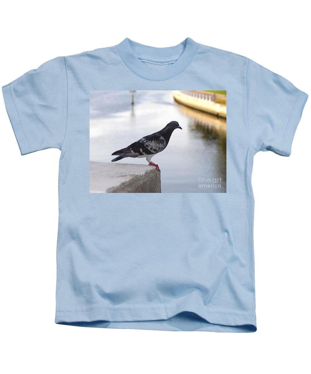 Pigeon Kids T-Shirt featuring the photograph Pigeon By The River by David Lee Thompson