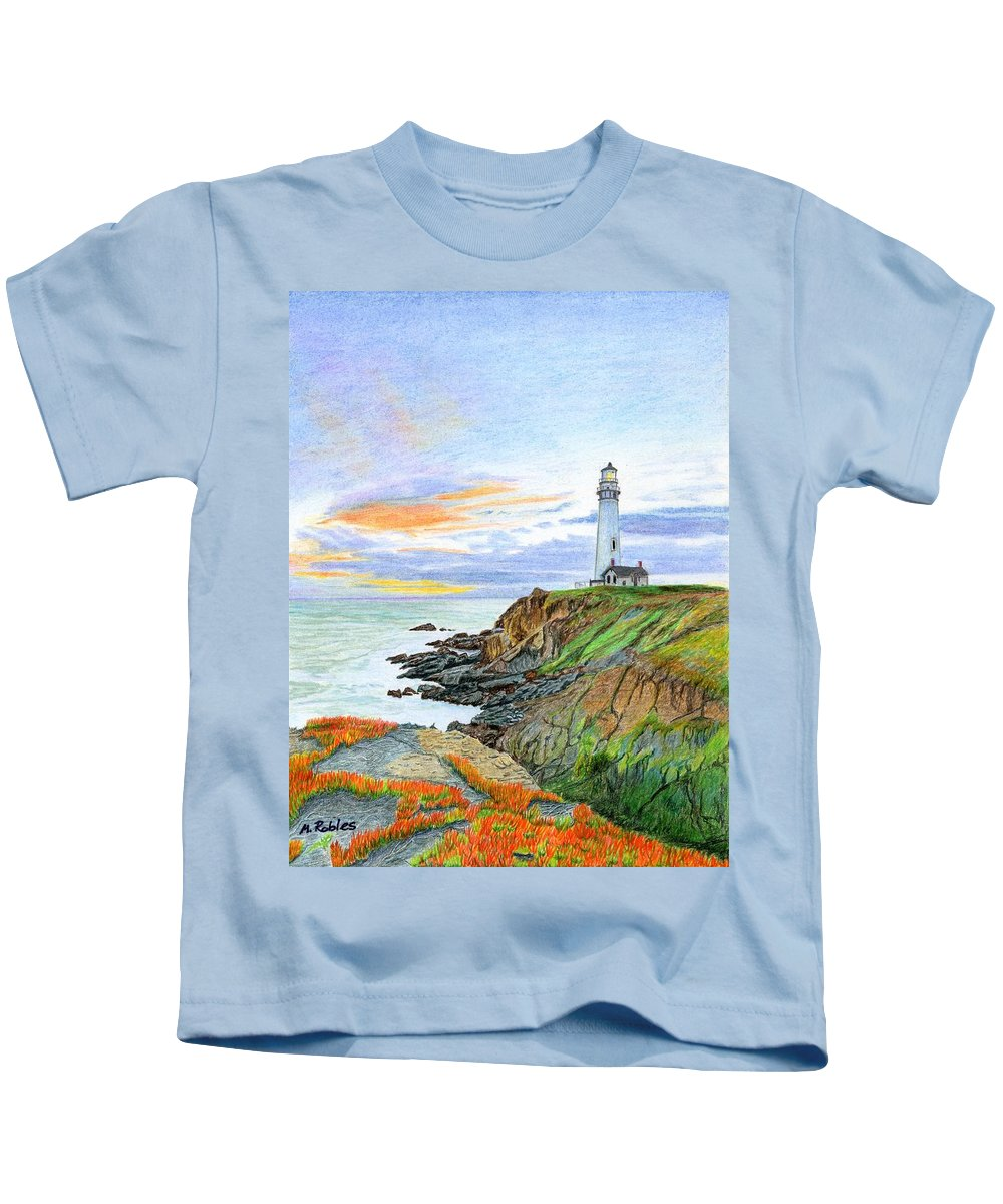 Lighthouse Kids T-Shirt featuring the painting Pigeon Point Sunset by Mike Robles