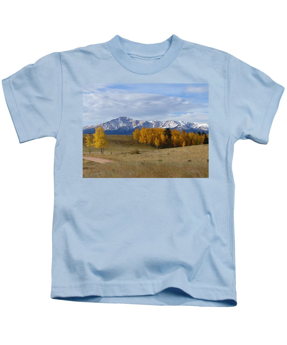 Fall Kids T-Shirt featuring the photograph Pikes Peak In The Fall by Carol Milisen