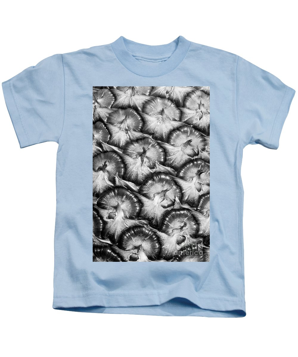 Abstract Kids T-Shirt featuring the photograph Pineapple Skin - Bw by Greg Vaughn - Printscapes