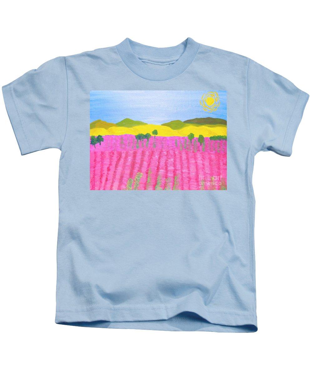 Pink Kids T-Shirt featuring the painting Pink Field by Irina Afonskaya