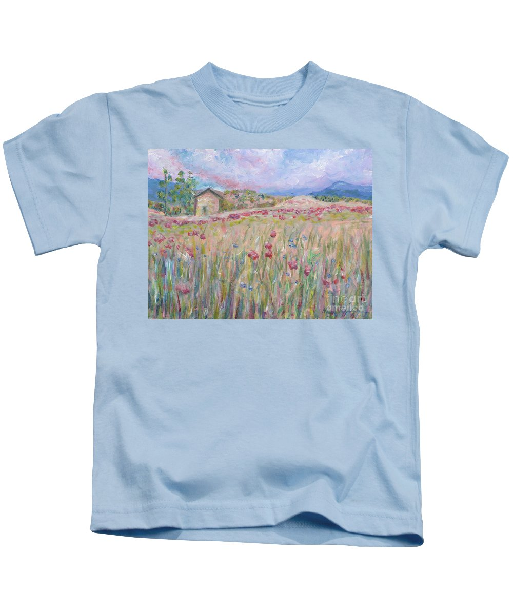 Pink Kids T-Shirt featuring the painting Pink Poppy Field by Nadine Rippelmeyer
