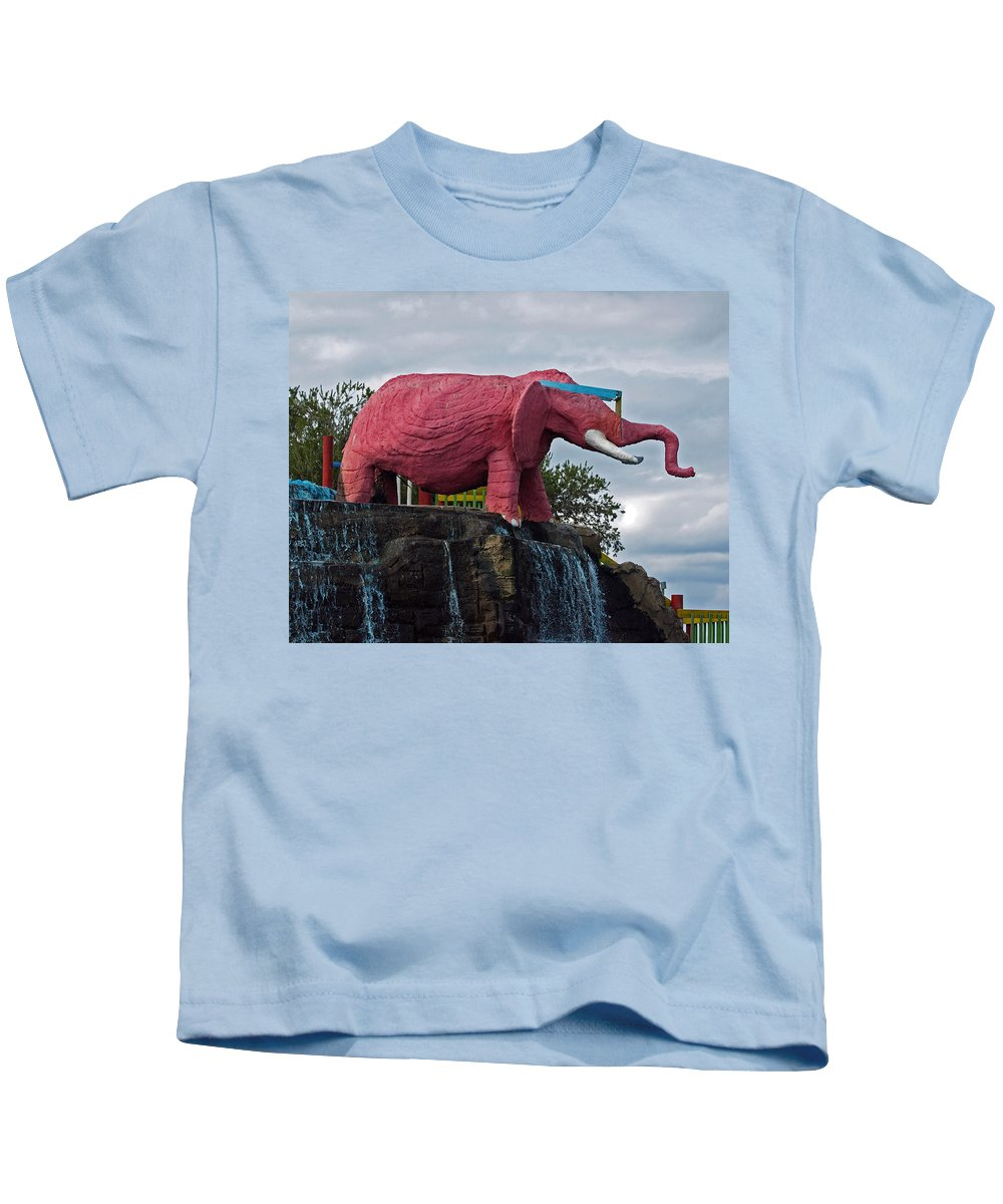 Florida; Kitsch; Roadside; Road; Side; Astronaut; Cape; Canaveral; Pinky; Elephant; Statue; Monument Kids T-Shirt featuring the photograph Pinky The Elephant At Cape Canaveral by Allan Hughes