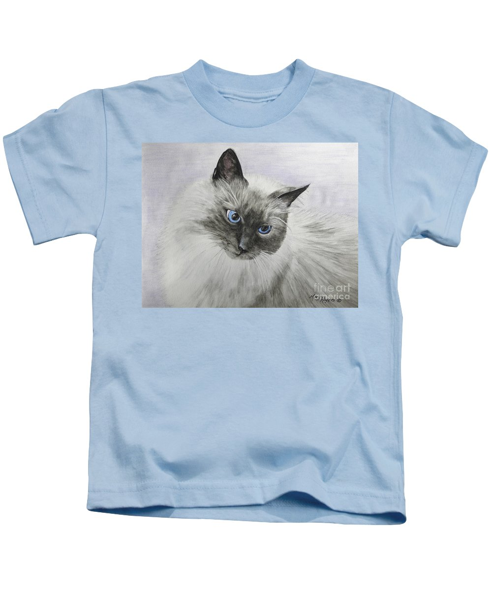 Animals Kids T-Shirt featuring the mixed media Pip by Mary Rogers