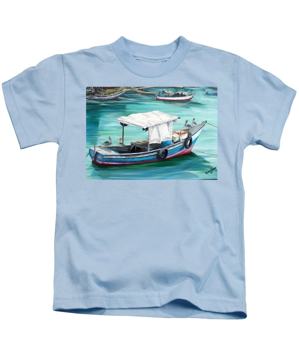 Fishing Boat Painting Seascape Ocean Painting Pelican Painting Boat Painting Caribbean Painting Pirogue Oil Fishing Boat Trinidad And Tobago Kids T-Shirt featuring the painting Pirogue Fishing Boat by Karin Dawn Kelshall- Best