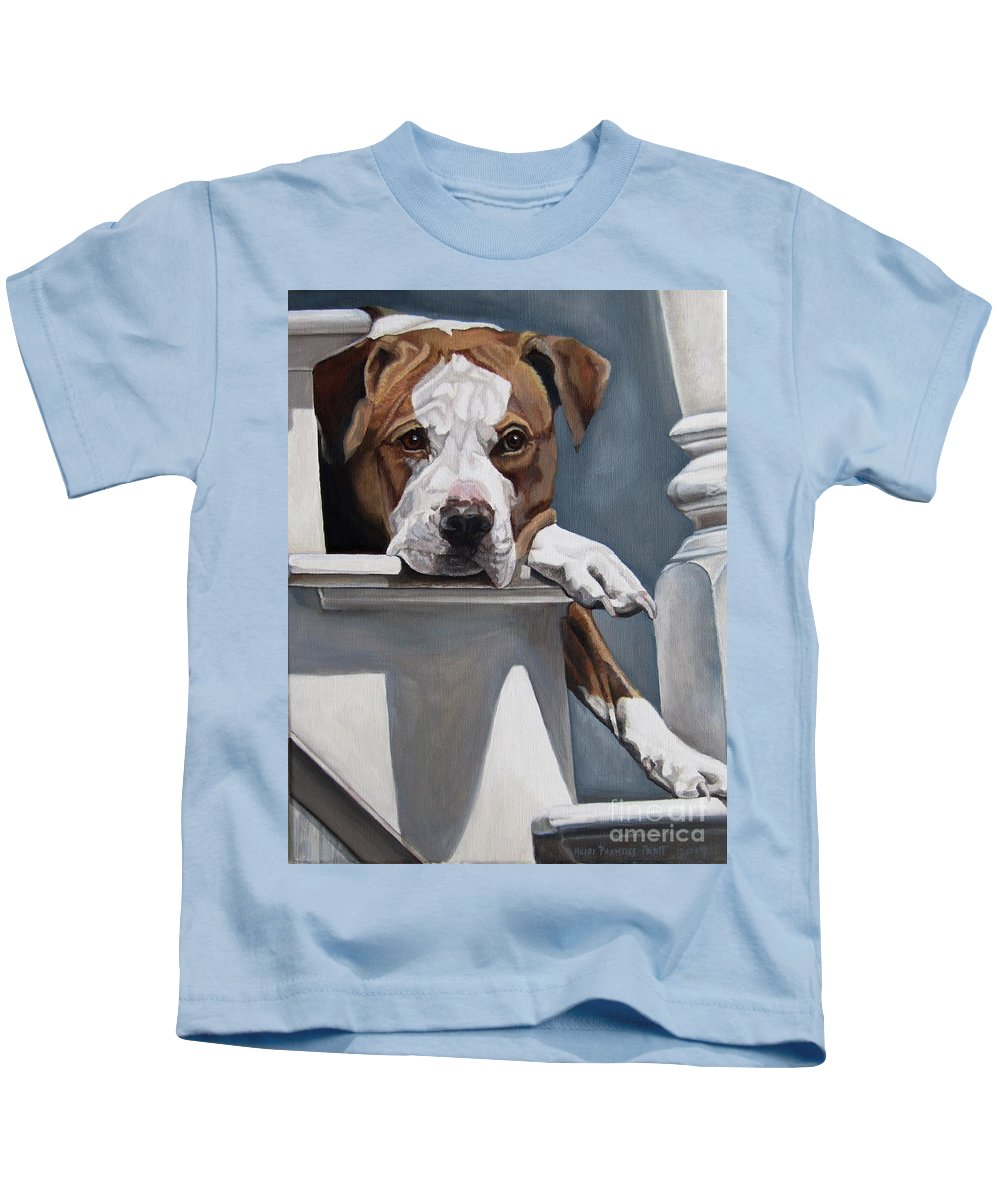 Pit Bull Kids T-Shirt featuring the painting Pitbull Stare by Heidi Parmelee-Pratt