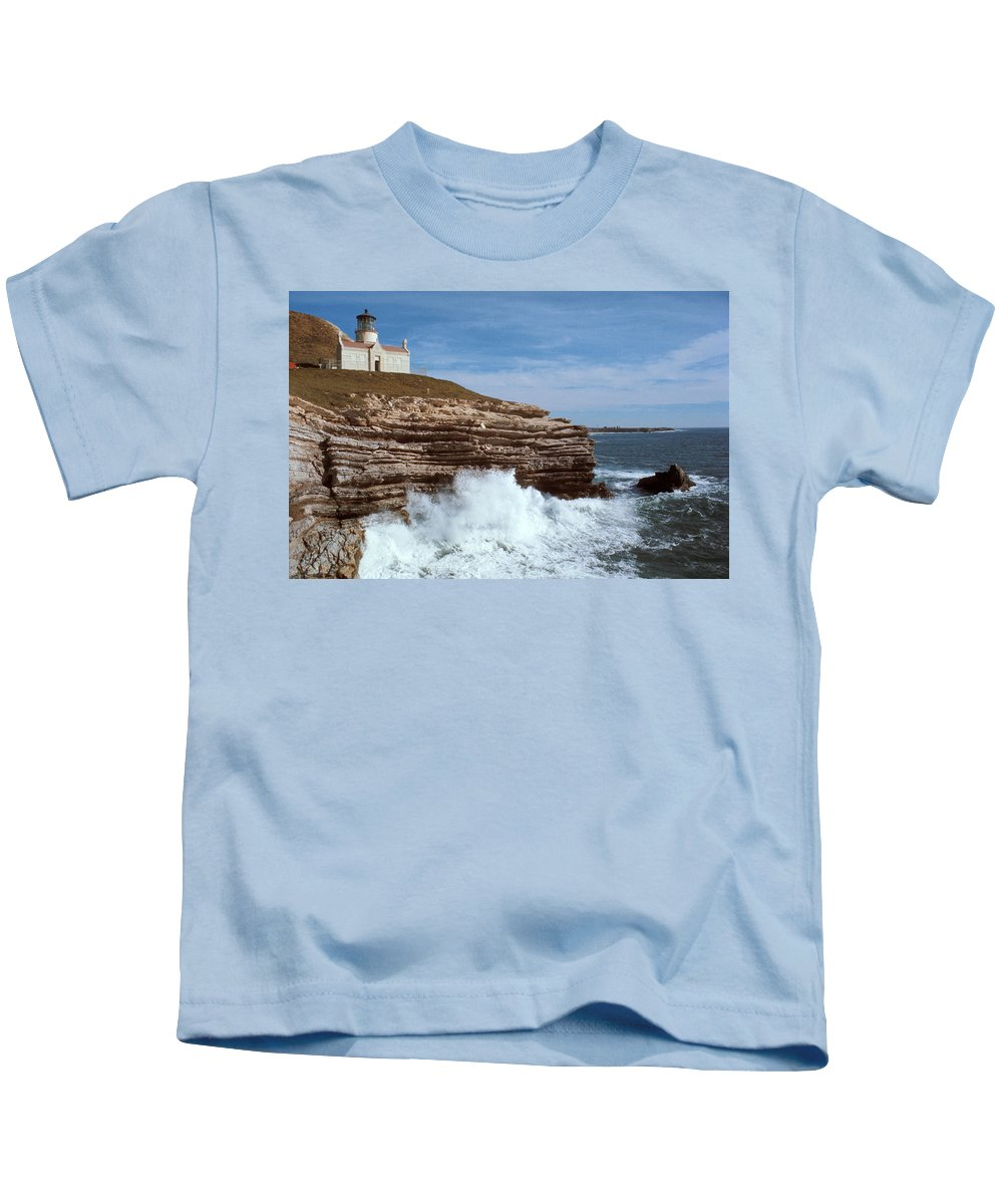 Point Conception Lighthouse Kids T-Shirt featuring the photograph Point Conception Lighthouse by Jerry McElroy