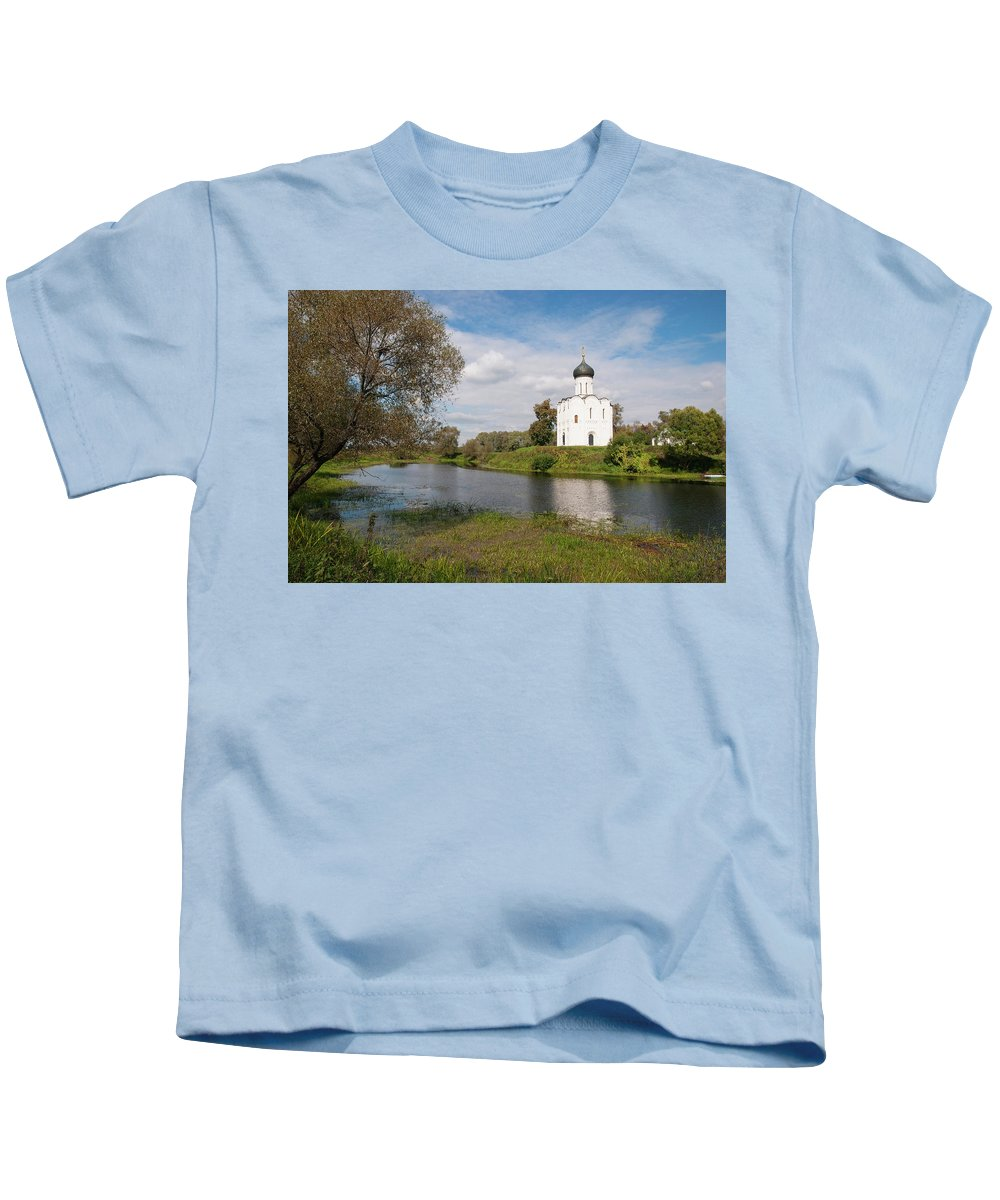 Church Kids T-Shirt featuring the photograph Pokrova-na-nerli by Sergei Dolgov