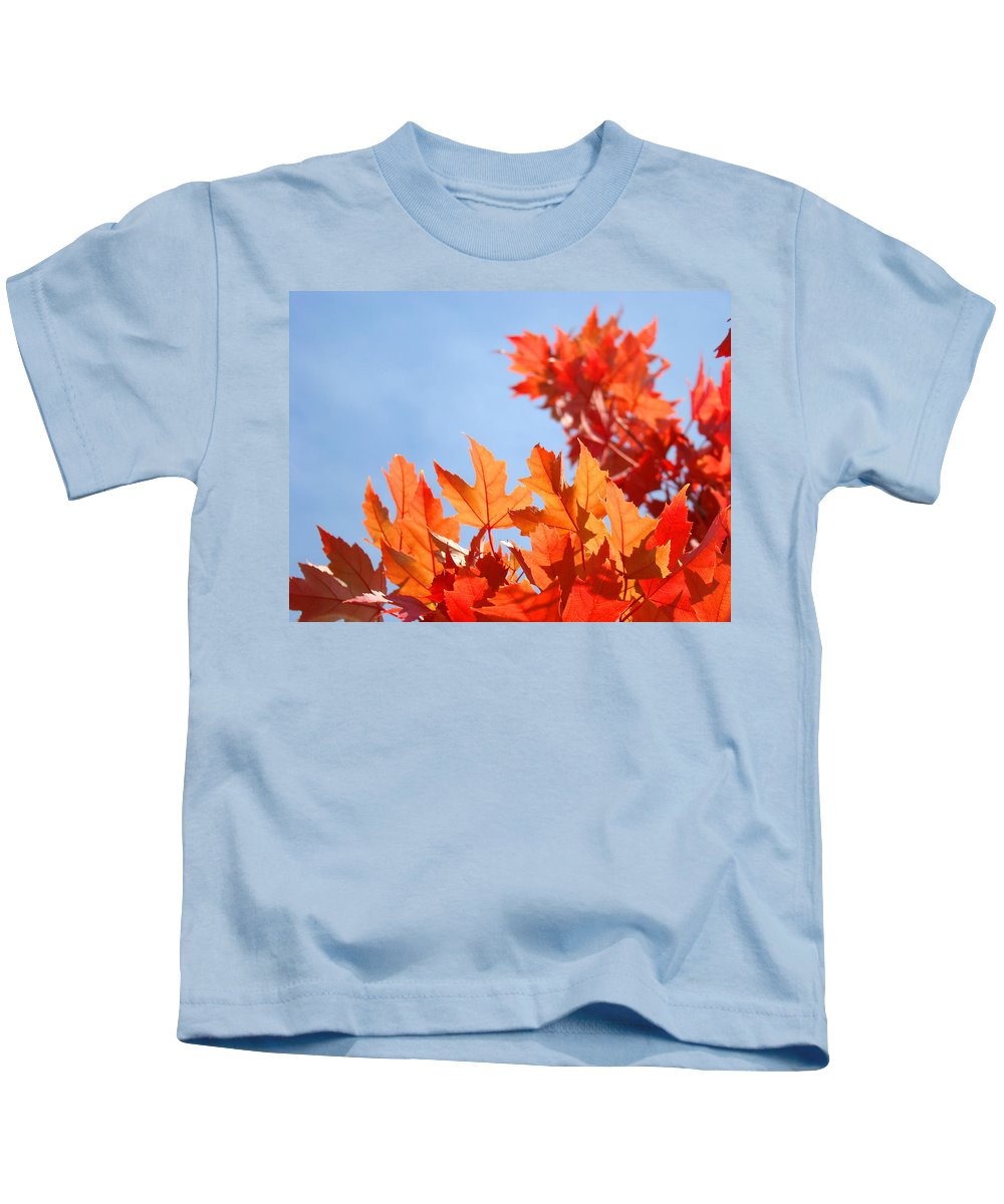 Autumn Kids T-Shirt featuring the photograph Popular Autumn Art Red Orange Fall Tree Nature Baslee Troutman by Baslee Troutman