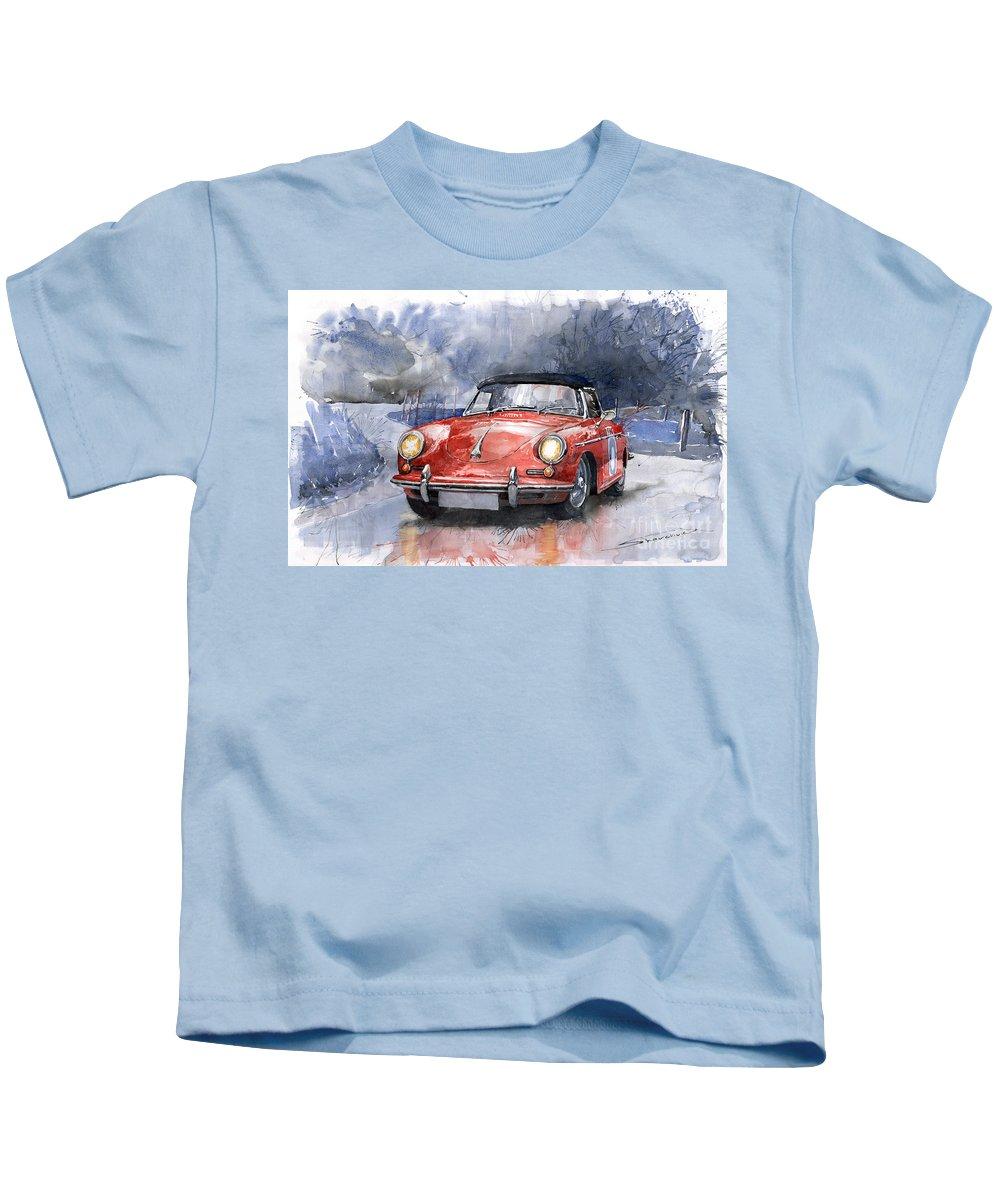 Auto Kids T-Shirt featuring the painting Porsche 356 B Roadster by Yuriy Shevchuk