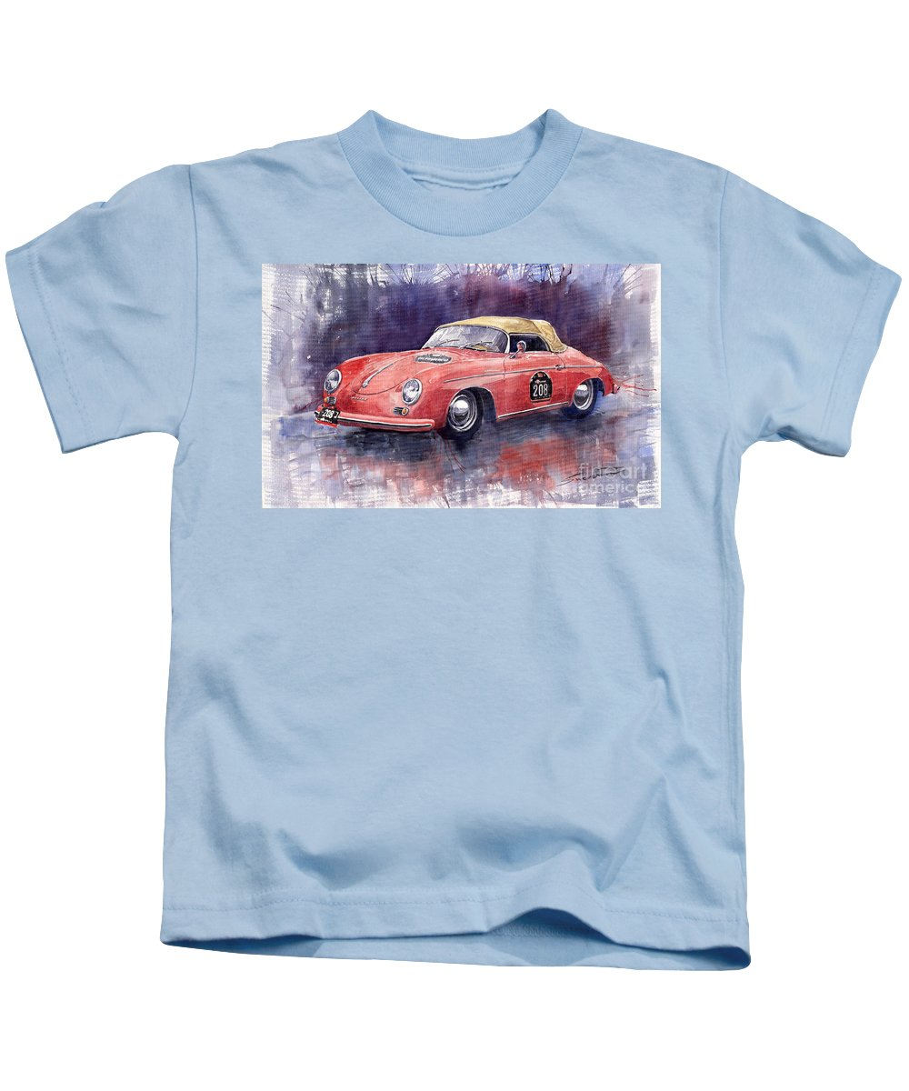 Watercolour Kids T-Shirt featuring the painting Porsche 356 Speedster Mille Miglia by Yuriy Shevchuk