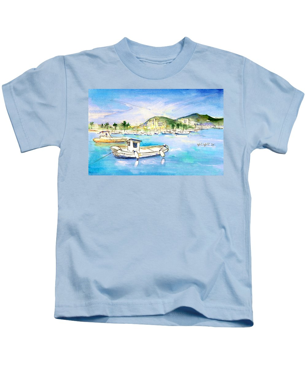 Travel Kids T-Shirt featuring the painting Port Andratx 01 by Miki De Goodaboom