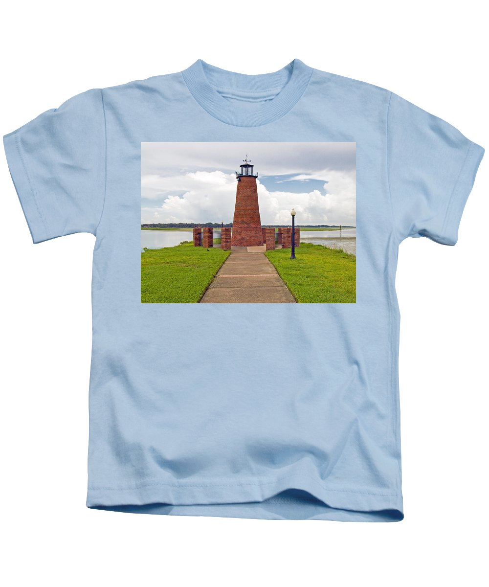 Florida; Kissimmee; Toho; Tohopekaliga; Port; Light; Lighthouse; House; Beacon; Brick; Central; Harb Kids T-Shirt featuring the photograph Port Of Kissimmee Lighthouse In Central Florida by Allan Hughes