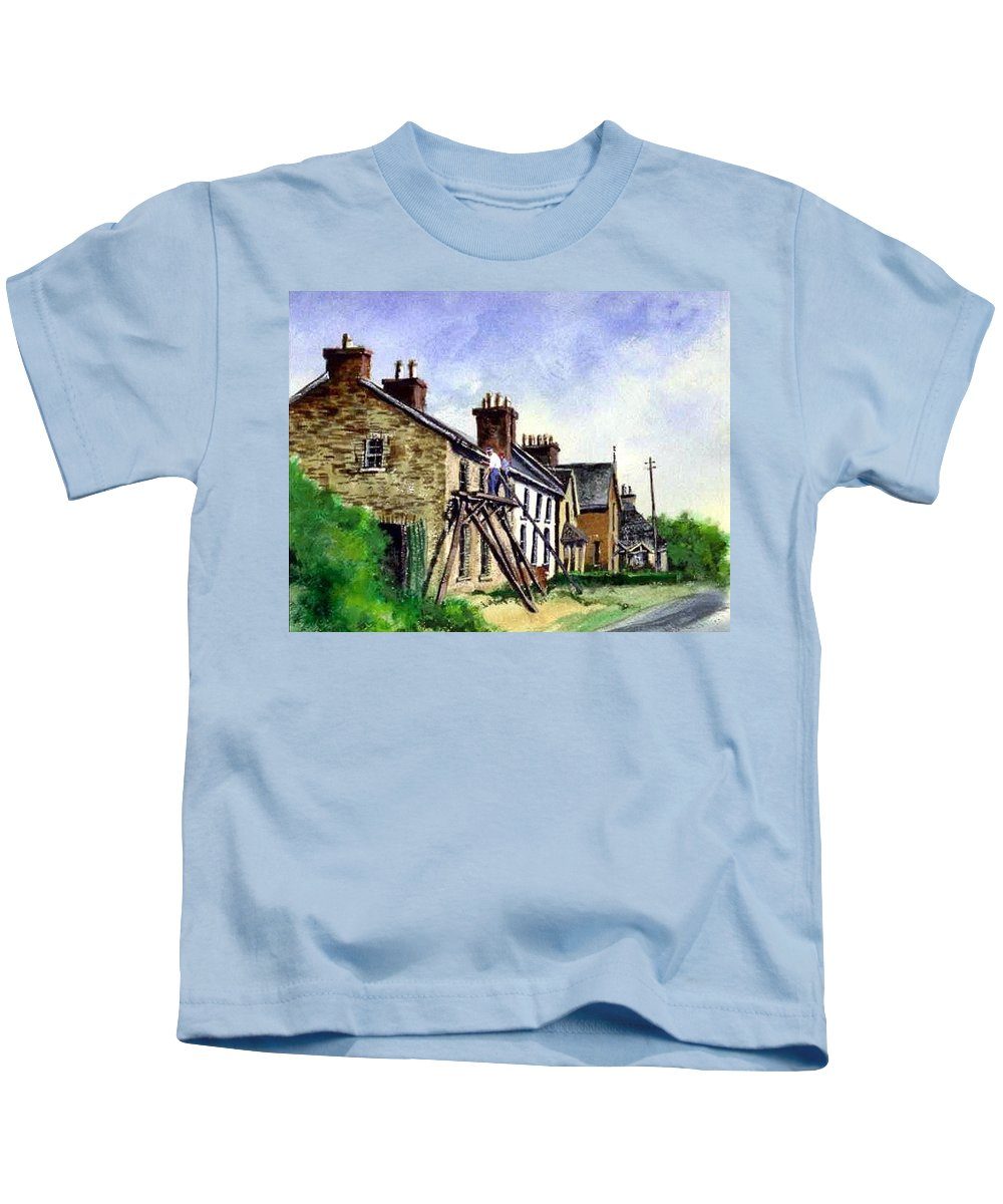 Water Color Kids T-Shirt featuring the painting Port Rush Gutter Repair by Jim Gola