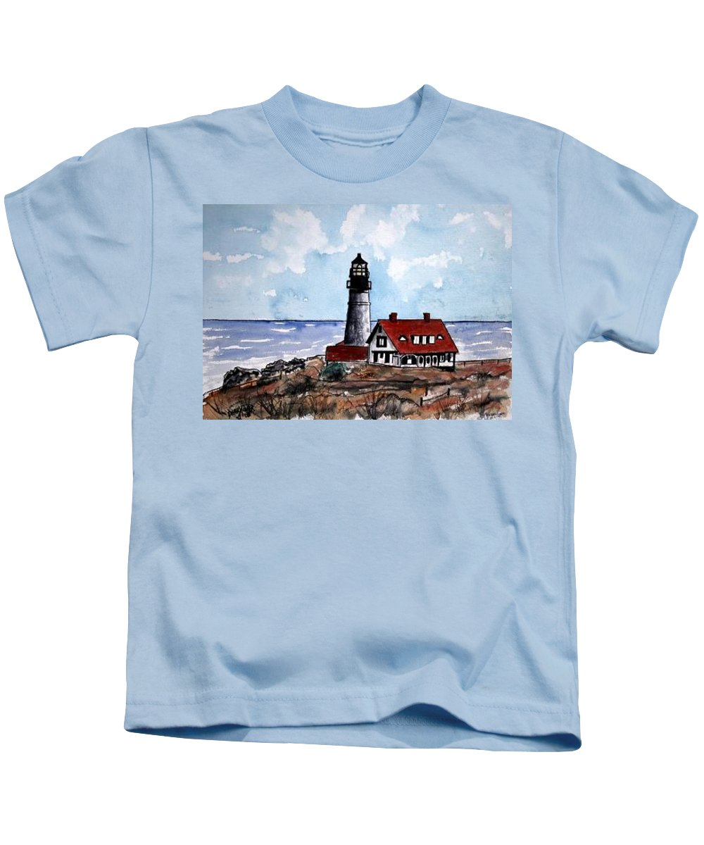 Lighthouse Paintings Kids T-Shirt featuring the painting Portland Head Lighthouse by Derek Mccrea
