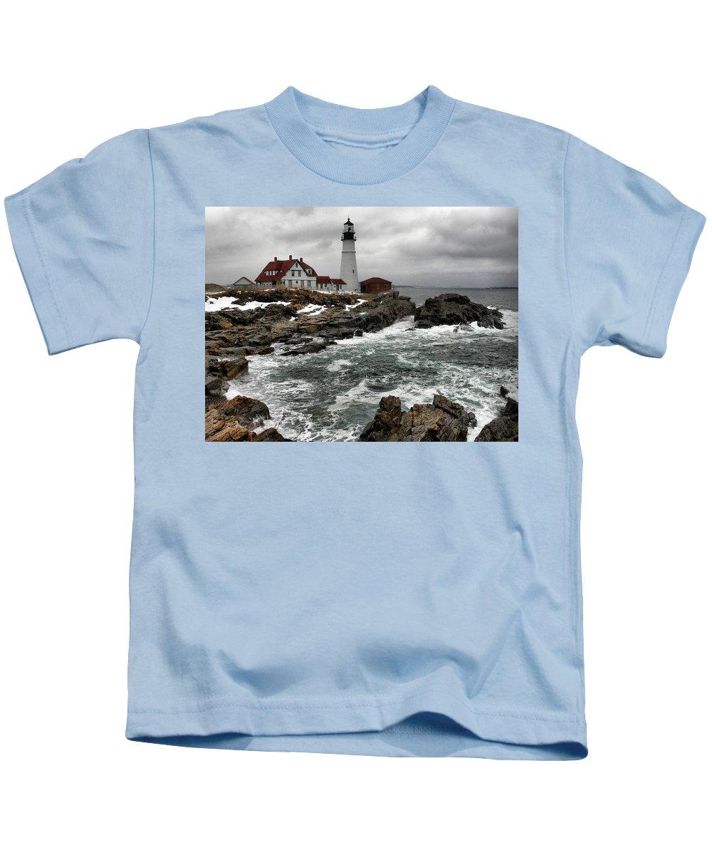 New England Lighthouse Kids T-Shirt featuring the photograph Portlandhead Lighthouse by Nancie DeMellia