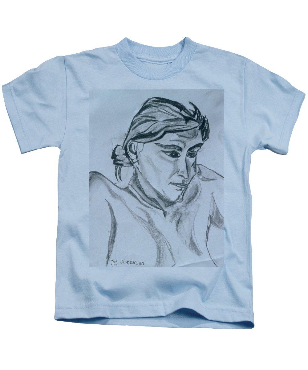 Portrait Kids T-Shirt featuring the painting Portrait - Bienvenue A La Planete Rock by Robert SORENSEN