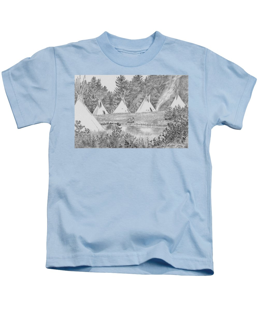 Native American Kids T-Shirt featuring the drawing Pow Wow by Harry Moulton
