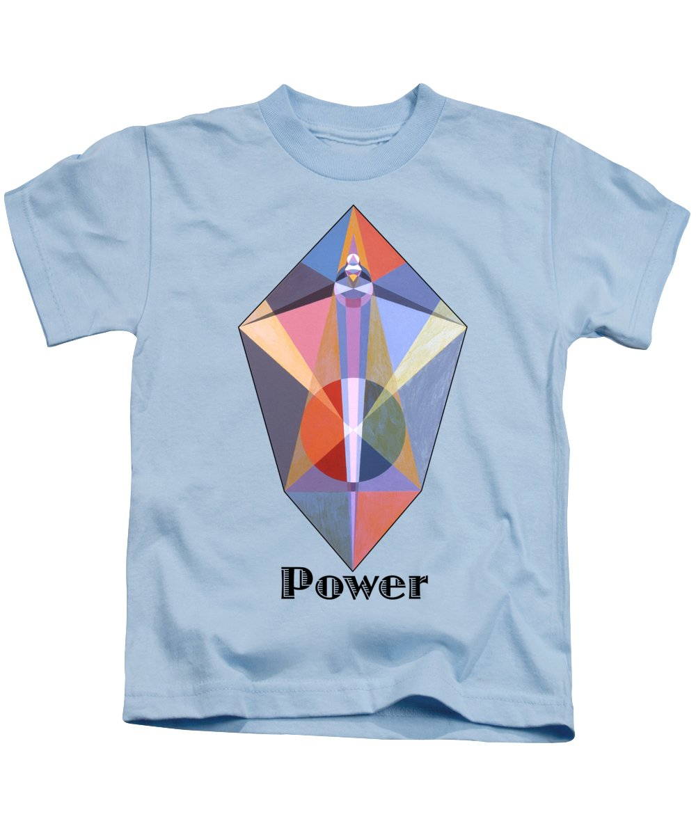 Painting Kids T-Shirt featuring the painting Power text by Michael Bellon