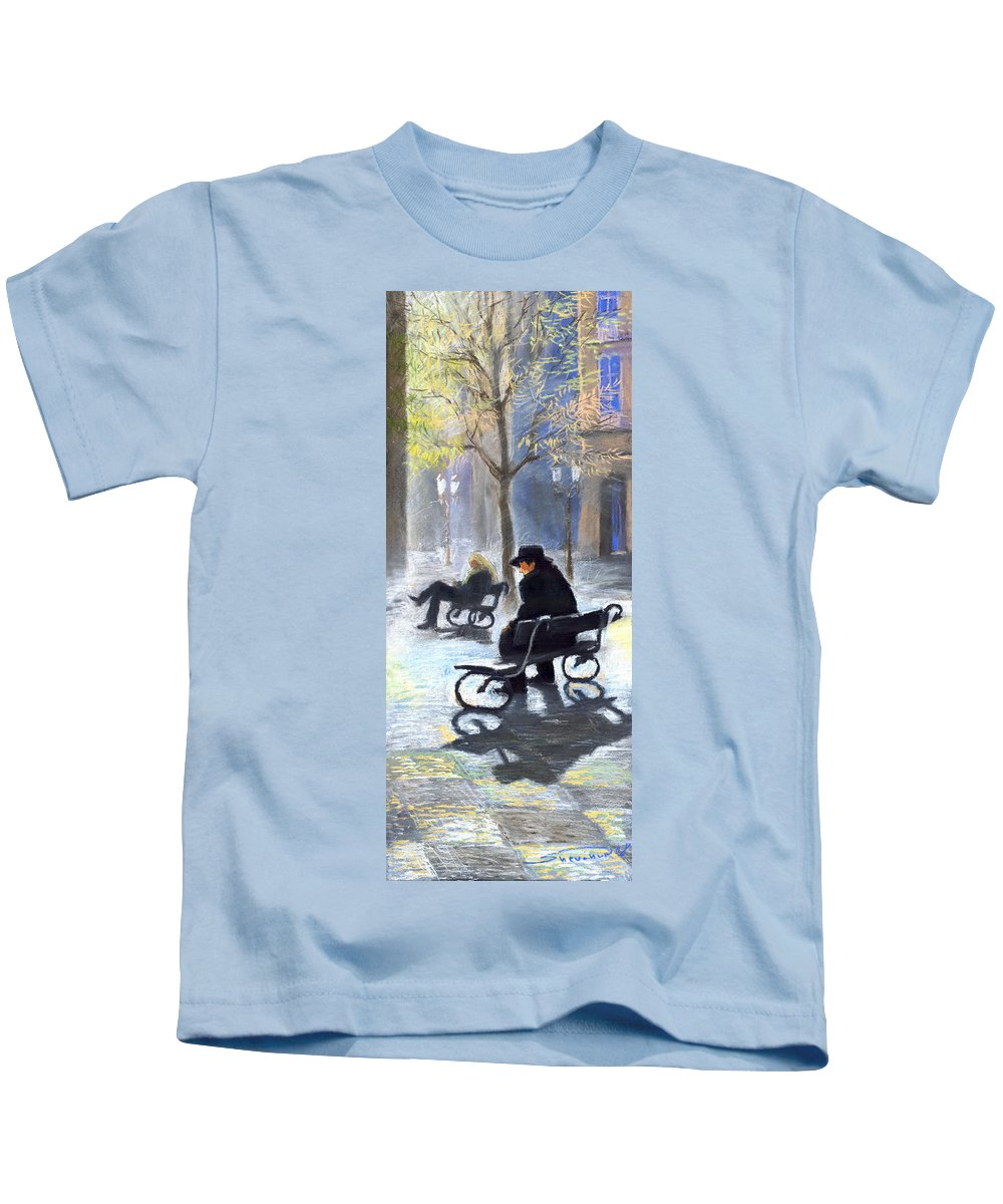 Prague Kids T-Shirt featuring the painting Prague Autumn Ray by Yuriy Shevchuk