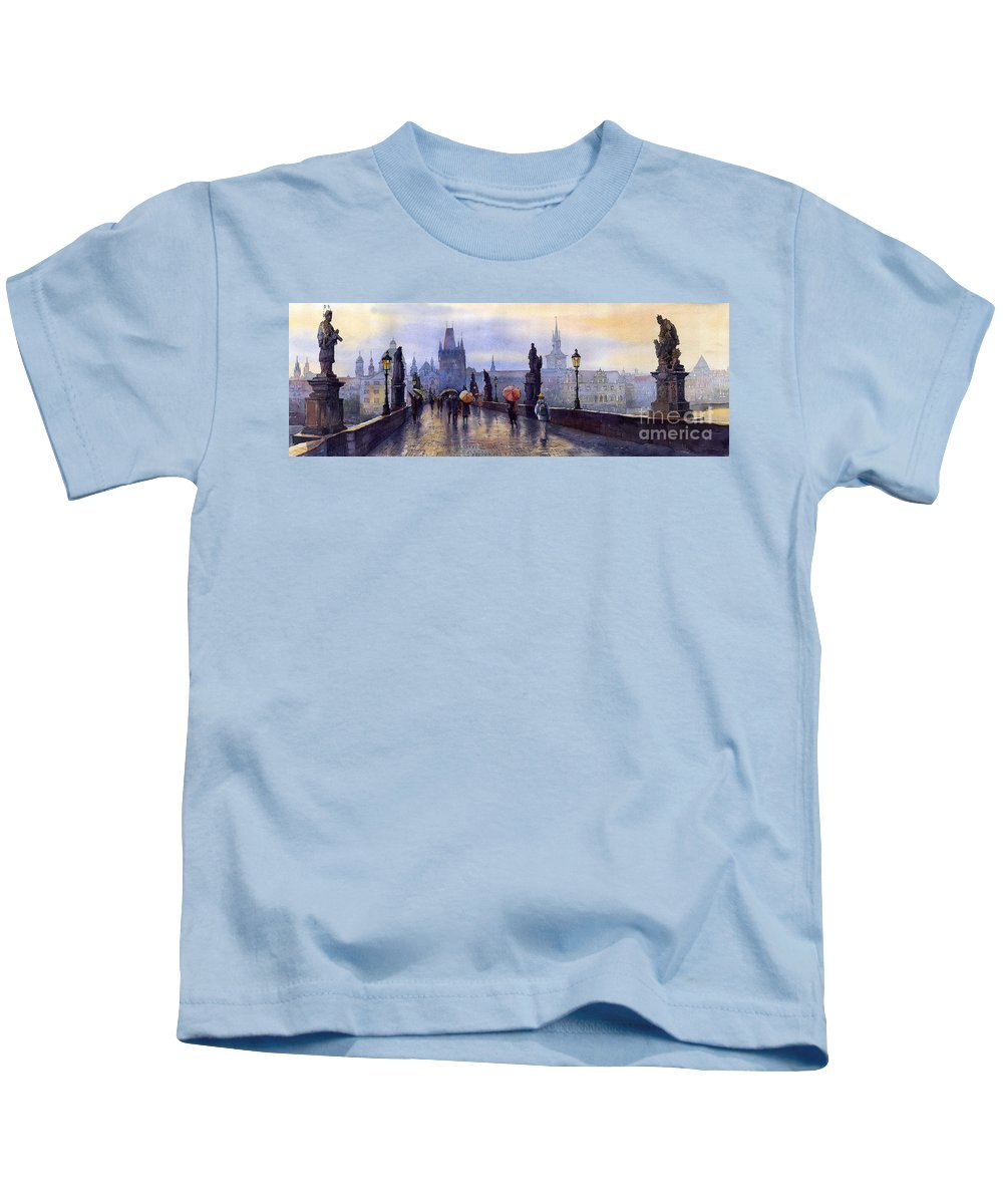 Cityscape Kids T-Shirt featuring the painting Prague Charles Bridge by Yuriy Shevchuk