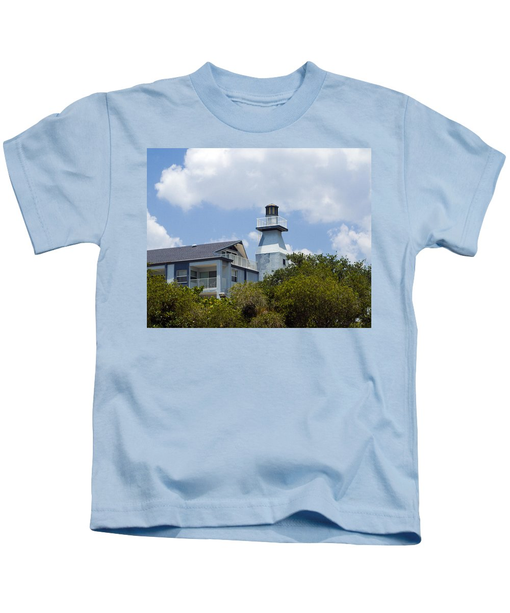 Light; Lighthouse; Private; Beacon; Keeper; Harbor; Harbour; Sail; Sailing; Boats; Boat; Craft; Anch Kids T-Shirt featuring the photograph Private Lighthouse On The Indian River Lagoon In Melbourne Florida by Allan Hughes