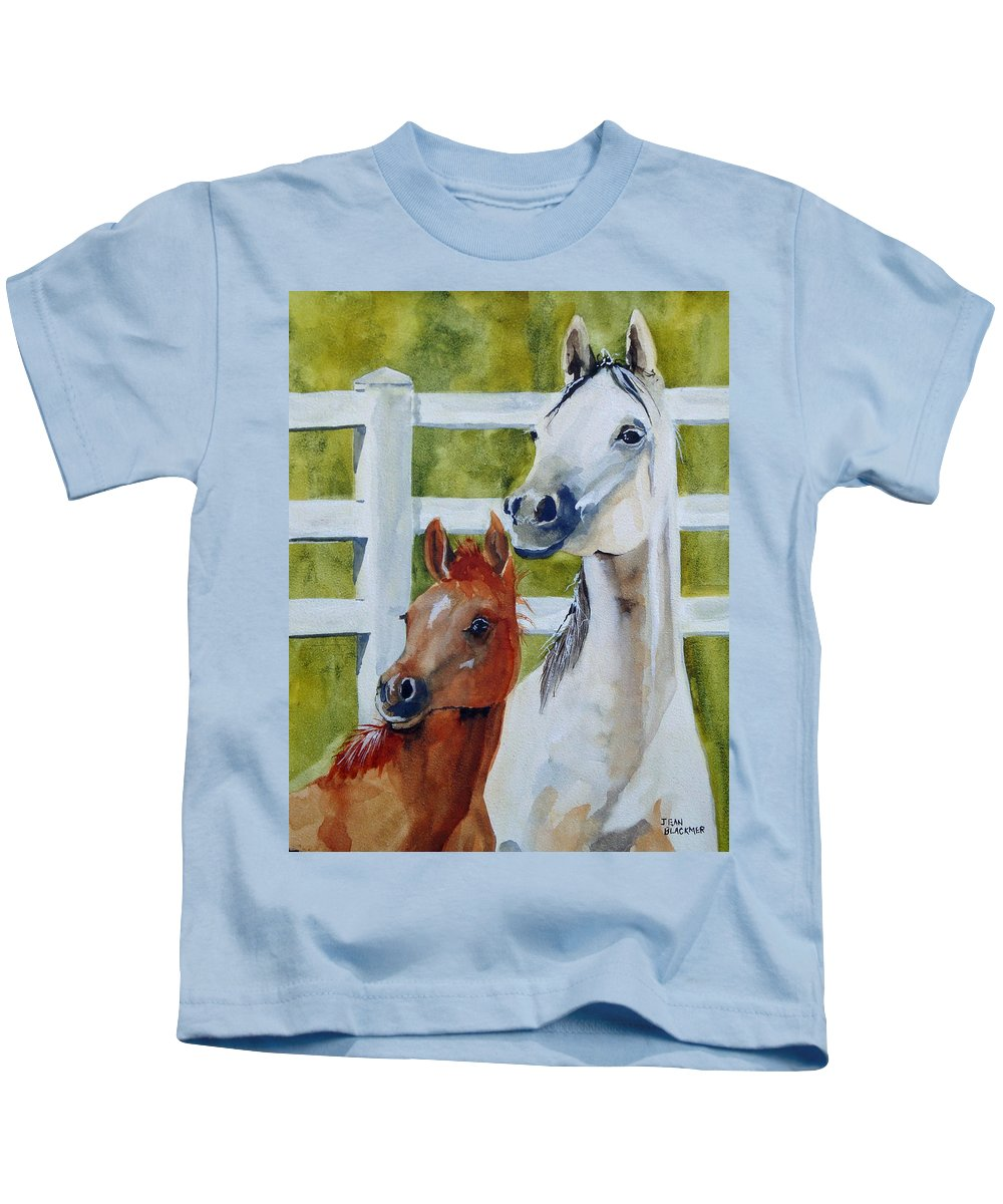 Equine Kids T-Shirt featuring the painting Proud Mama by Jean Blackmer