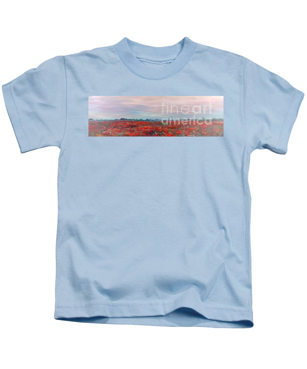 Poppies Kids T-Shirt featuring the painting Provence Poppies by Nadine Rippelmeyer