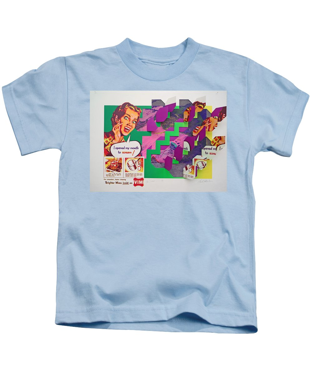 Psycho Kids T-Shirt featuring the mixed media Psycho Scream by Charles Stuart