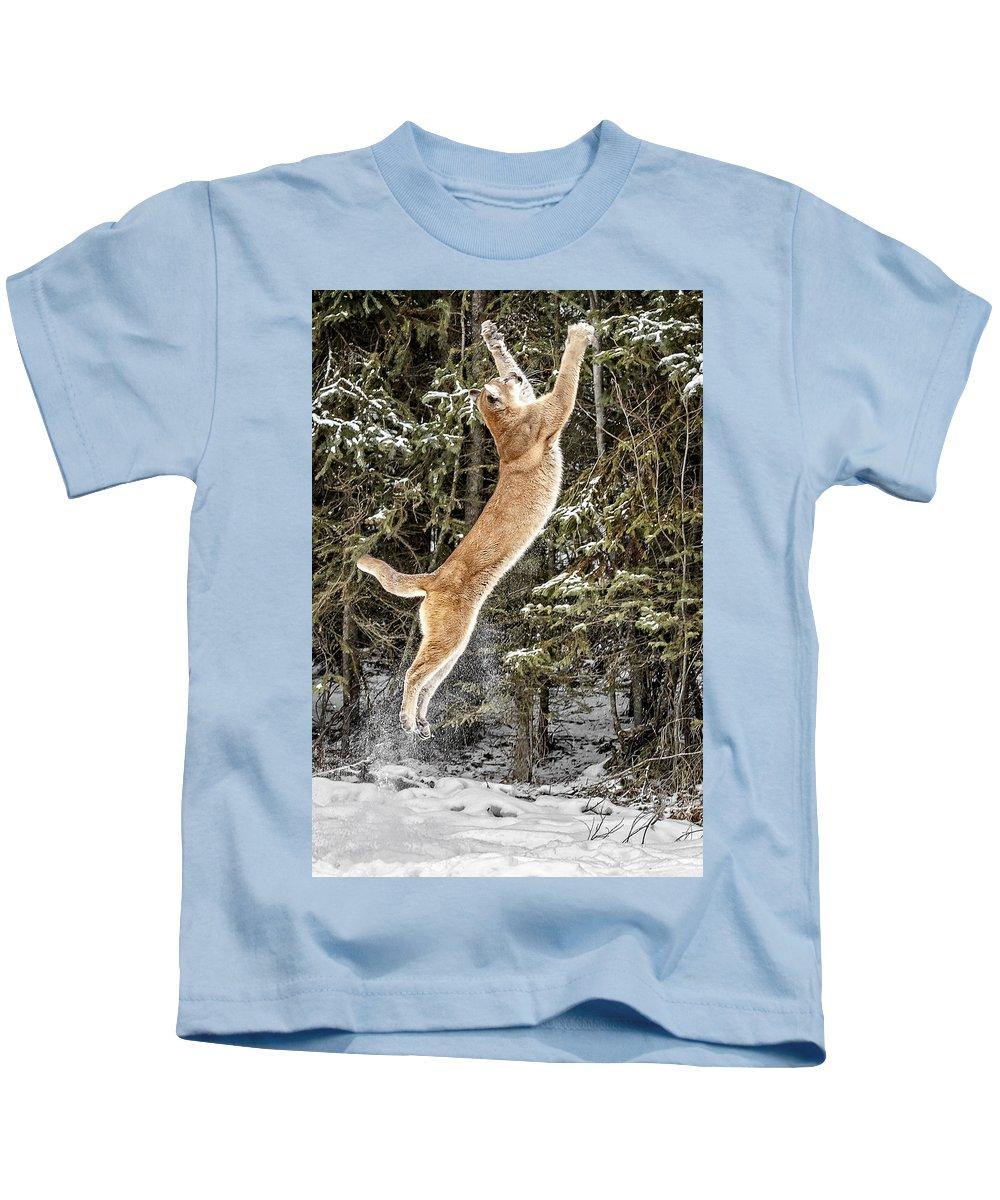 Puma High Jump Kids T-Shirt featuring the photograph Puma High Jump by Wes and Dotty Weber
