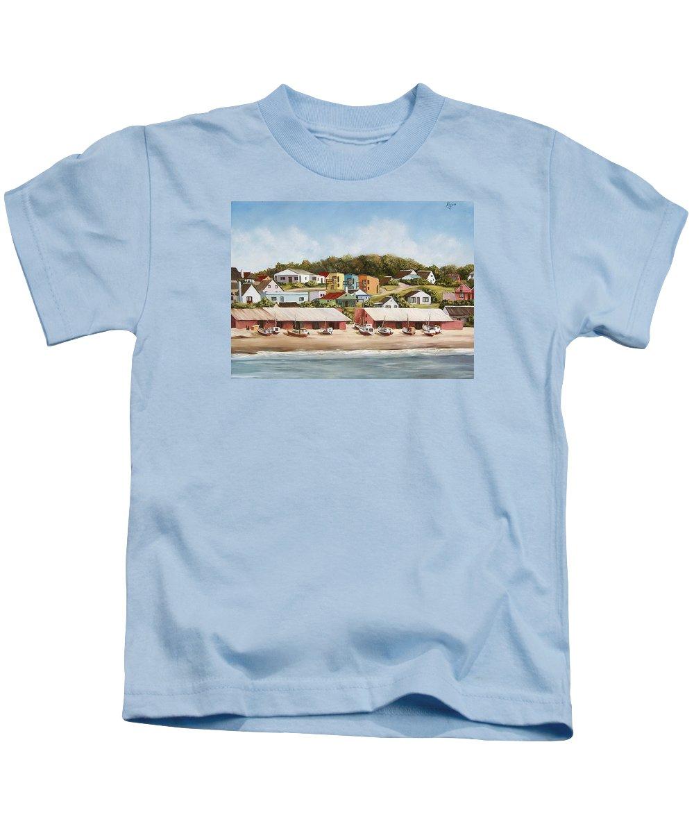 Landscape Seascape Uruguay Sea Seaside Boats Kids T-Shirt featuring the painting Punta Del Diablo 2 by Natalia Tejera