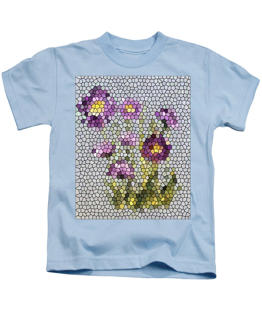 Digital Photo Kids T-Shirt featuring the digital art Purple Asters II by Barbara Griffin