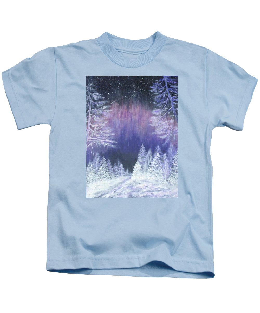 Winter Kids T-Shirt featuring the painting Purple Dream by Irina Astley