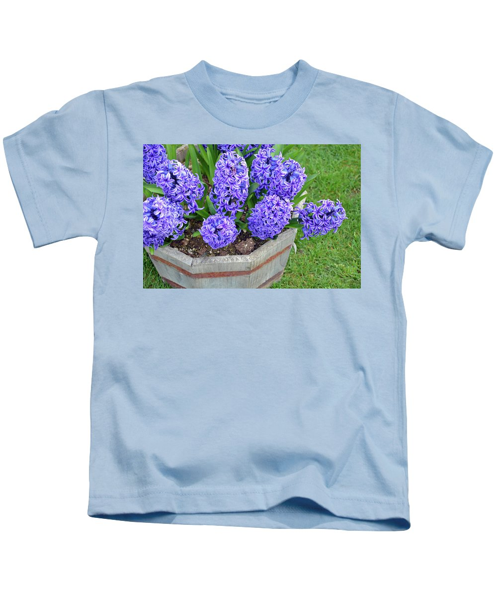 Hyacinth Kids T-Shirt featuring the photograph Purple Hyacinth Flowers Planter by Perl Photography