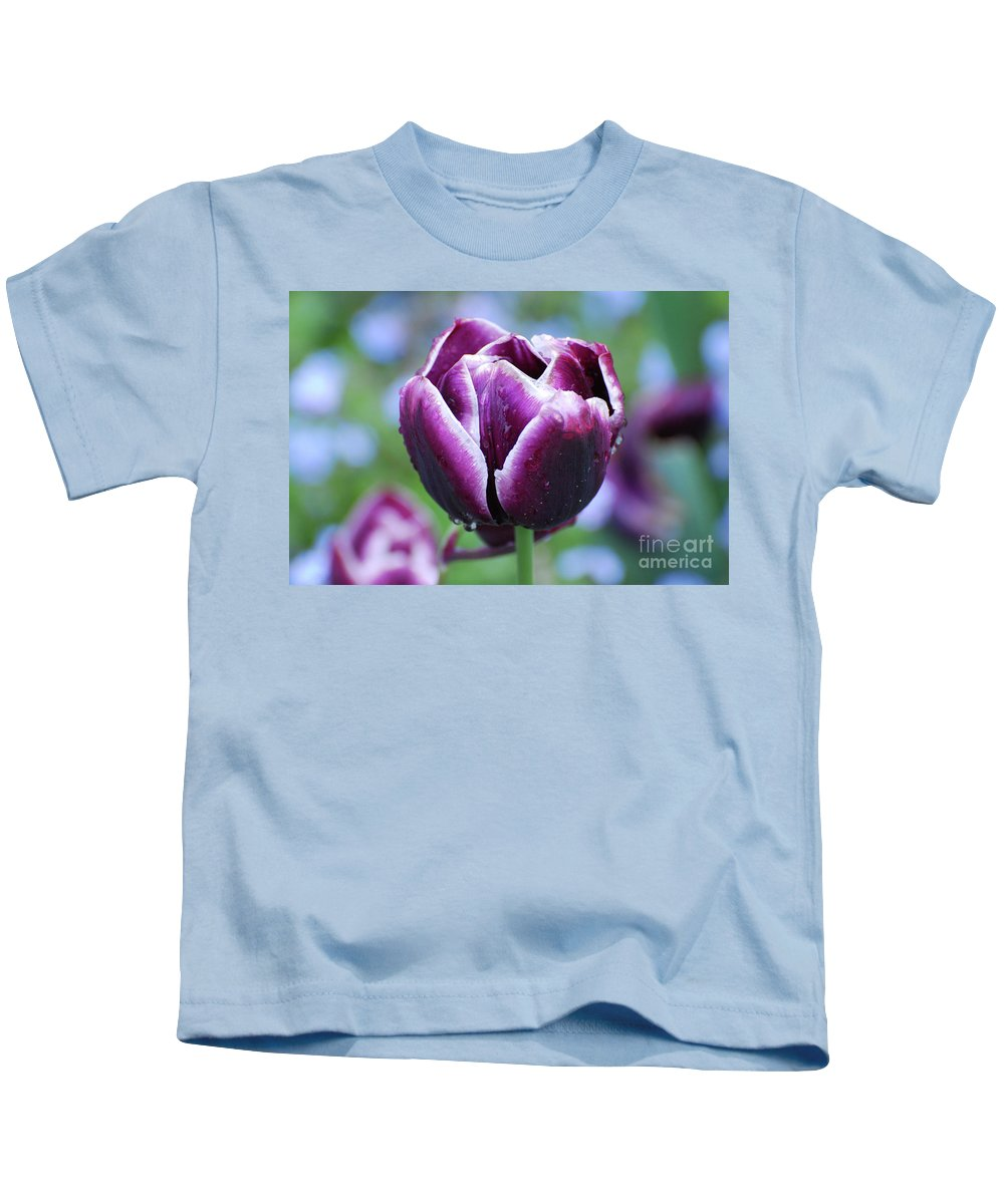 Tulip Kids T-Shirt featuring the photograph Purple Tulips With Dew Drops On The Outside Of The Petals by DejaVu Designs