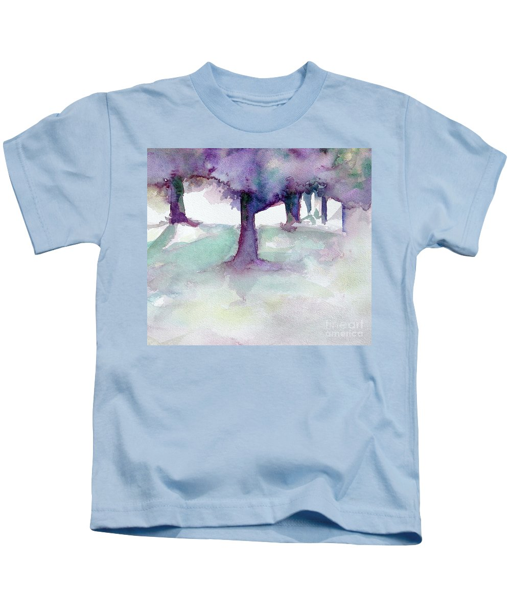 Landscape Kids T-Shirt featuring the painting Purplescape II by Jan Bennicoff